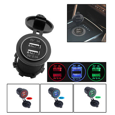 12V Dual USB Port Voiture allume-cigare Socket Splitter Chargeur LED Voltmètre