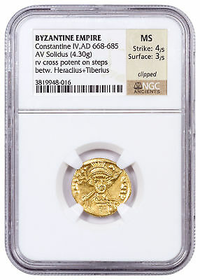 AD 668-685 Byzantine Empire, Gold Solidus of Heraclius NGC MS 4/5, 3/5 SKU54462