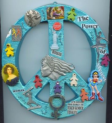 Feminist Peace Symbol Wall Art Original With Feminist Movement Collectibles