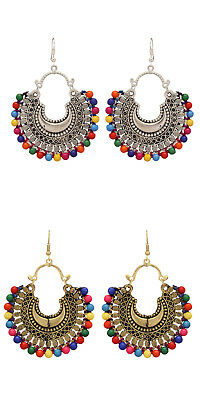 Jwellmart Indian Afghani Style Oxidized Look Multicolor Beads Fashion Earrings
