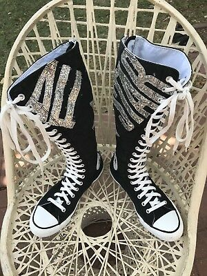 1463caf79170a4 Converse ALL-STAR GLITTER GRAPHIC Chuck Taylor Knee High SNEAKERS Women s  US 9