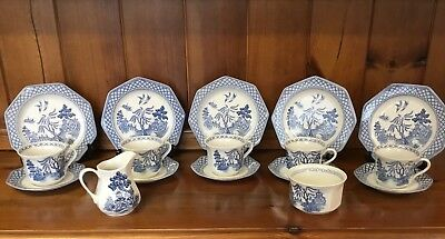 J&g Meakin Willow  Pattern 17 pce Teaset