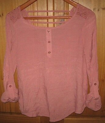 MINE Anthropologie Women's Blouse Top Open Back Lace Pullover Mauve Small EUC