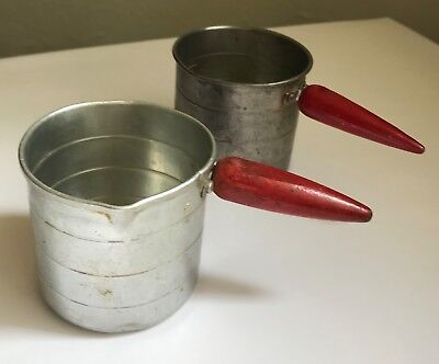 Set of 2 ~ Vintage Aluminum 1 Cup Measuring Cup with red wood handle 1950's