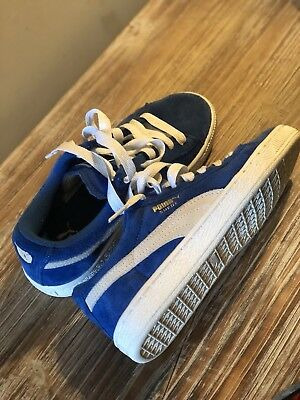 PUMA BLUE SUEDE Classic Lace Up Tennis Shoes Youth Kids Sneaker Size ... fba5f9267