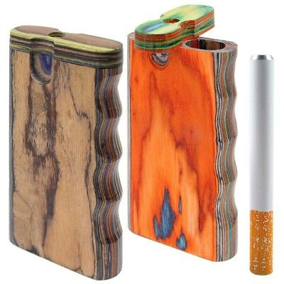 Discrete Wooden Dugout With Metal Cig pipe, Assorted colors. FREE SHIPPING