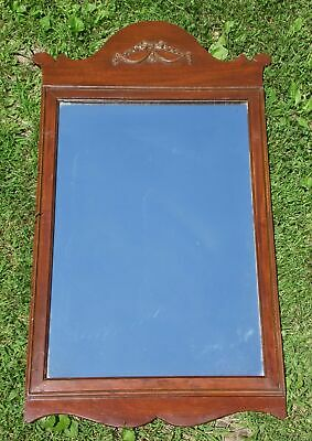 Vintage French Provincial Trumeau Wall Mantle Entry Mirror Wood Carved Ribbons