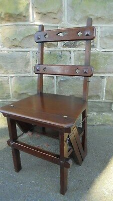 Library Black Step Chair Antique Repro OCS023B Mahogany /'Metamorphic/' Office