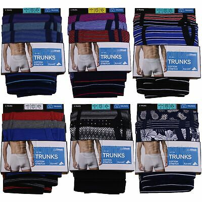 New Mens 3 Pack Stretch Cotton Cool & Fresh Trunks Flexifit Boxer Shorts  M S