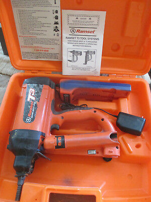 Ramset T3 Cordless Gas Actuated Fastener / Nailer With Charger, Case, and Manual