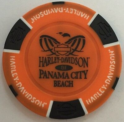 Panama City Beach Fl Harley Davidson Poker Chip Blue Black