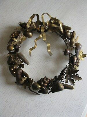 Vintage Petite Choses Brass Holiday Fall Wreath Fruits Leaves Acorns Corn Wheat