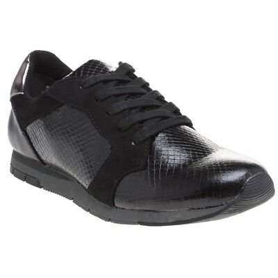 New Womens Tamaris Black 23617 Synthetic Trainers Flats Lace Up