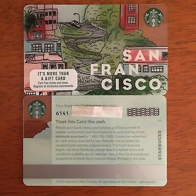 Starbucks San Francisco  2017  City Lombard Crooked Street Gift Card Mint 6141