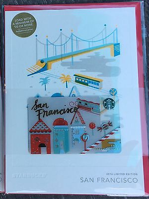New Starbucks San Francisco  2016 Holiday Limited Edition City Gift Card Mint
