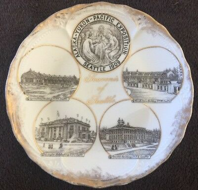 1909 Alaska Yukon Pacific Exposition Seattle Souvenir China Plate From Germany