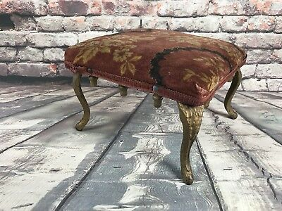 Small Foot Stool Ornate Cast Iron Metal Legs Upholstery Top Plant Stand