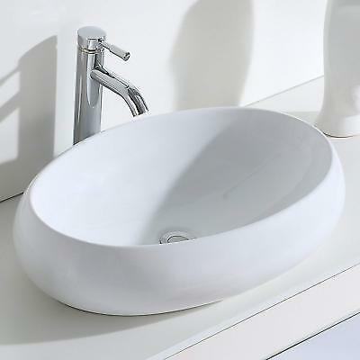 ERIDANUS MALIE-B Oval Wash Basin Ceramic Countertop Bathroom Cloakroom Sink