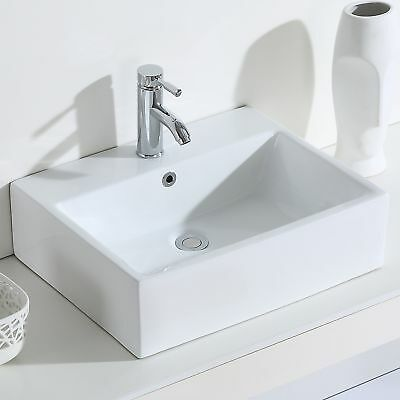 ERIDANUS Monterosso Wash Basin Ceramic Countertop Wall Mount Bathroom Sink,White
