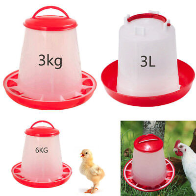 3/6KG Food Feeder 3LTR Drinker Set Tool Poultry Chick Chicken Poultry Lid Handle