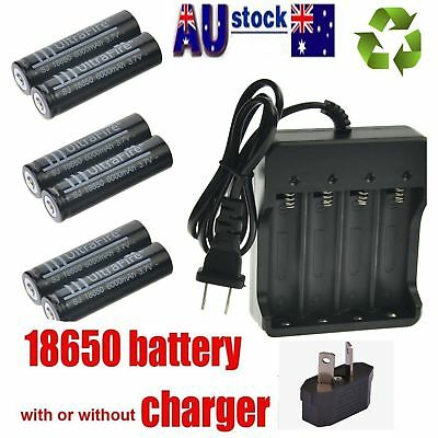 18650 3.7V 6000mAh Li-ion Rechargeable Battery or AU plug Charger Indicator AU