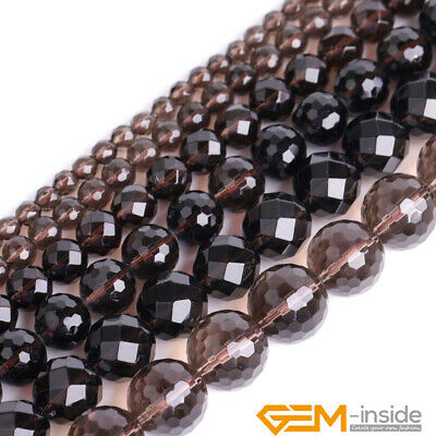 """Natural A Grade Dark Brown Smoky Quartz Faceted Round Loose Spacer Beads 15"""" YB"""