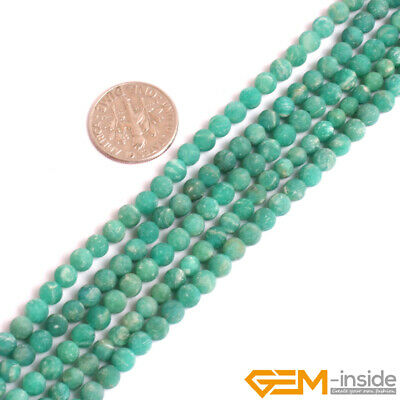 """Natural Green Russian Amazonite Gemstone Frost Matte Round Loose Beads 15"""" YB"""