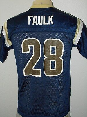 5d858052e Reebok Marshall Faulk  28 St Louis Rams Blue Nfl Jersey Youth Large 14-16