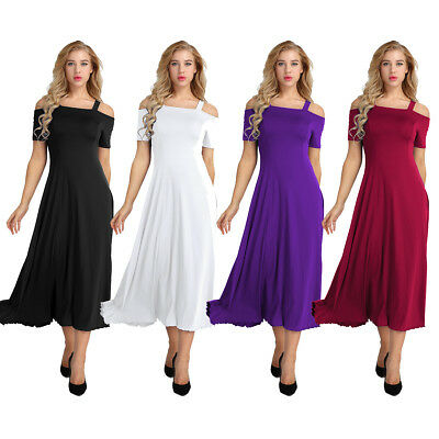 Womens Cold Shoulder Formal Wedding Bridesmaid Long Cocktail Evening Party Dress