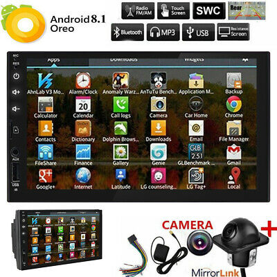 """Android 8.1 7"""" Double 2DIN Car Radio GPS Player WIFI BT Navi SD AUX BackupCamera"""