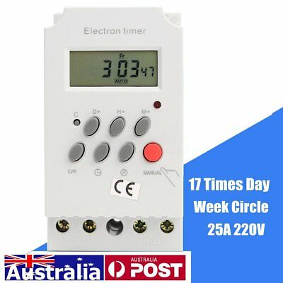 AU 220V 25A KG316T-II Din Rail LCD Digital Electronic Programmable Timer Switch