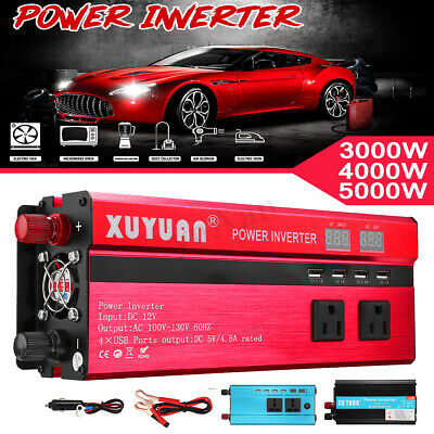 3000/4000/5000W Car Power Inverter 12/24V To 110V/220V USB Sine Wave Converter
