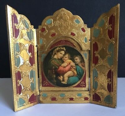 Vintage Triptych Tole Wood with Gesso Frame Florentine Madonna & Child
