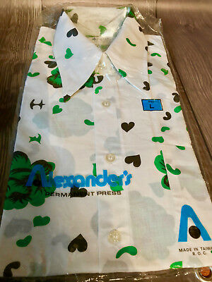 Great Vintage Retro Pattern Men's Long Sleeved Shirt By Alexanders Size L NWT