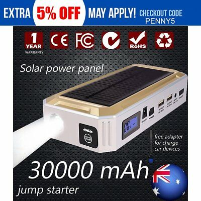 Portable Emergency Jump Starter 30000mAh Backup Power Bank Car Charger 12V Solar
