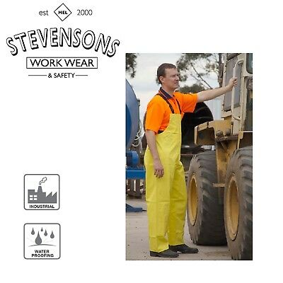 PVC Waterproof Wet Weather Bib & Brace Overall Fishing Outdoor Trouser Yellow