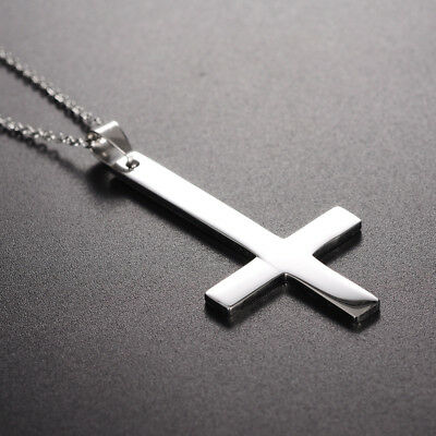 316L Stainless Steel Inverted Cross Chain Pendant Silver Jewelry Gifts