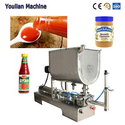 Paste Liquid filling machine Food Chilli Sauce Piston Mixing Filler 3.38-33.8 OZ