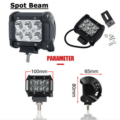 4 inch 18W CREE LED Work Light Bar 2Row Offroad SPOT FLOOD Work Driving Lamp