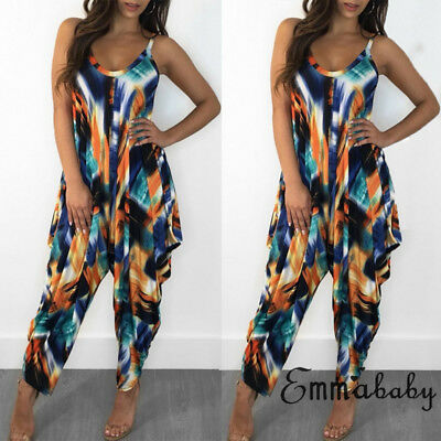 USA STOCK Women Clubwear Floral Playsuit Bodycon Party Jumpsuit&Romper Trousers