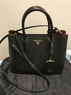 8bfcbf42ccdfbe Prada Saffiano Cuir Double Medium Tote Bag Black/Red with Matching Wallet