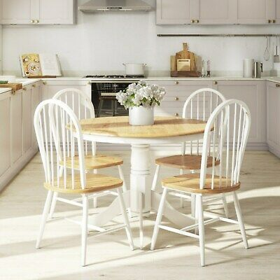 Rhode Island Natural & White Round Kitchen Dining Table and 4 Chairs Set