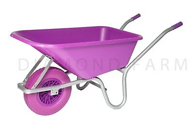 Pink Heavy duty 110L Equestrian Garden plastic Wheelbarrow puncture proof
