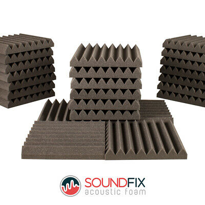 24 Wedge Acoustic Foam Panels 50mm thick 300mm Studio Room Sound Treatment Tiles