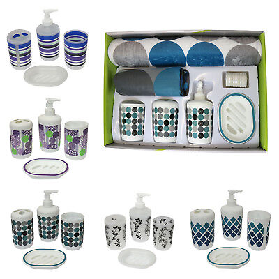 7 Piece Plastic Bathroom Accessories Set Toilet Sets With Shower Curtain and Mat