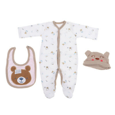 """3pcs Brown Clothes for 22""""-23"""" Reborn Baby Boy Doll Rompers Bib Bear Hat Set"""