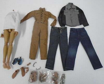 1/6 Scale Mens Hommes Work Clothes Jeans Overall Action Figure Extra Hands Feet
