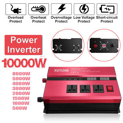 500W-10000W Car Power Inverter USB DC12/24V To AC110V/220V Sine Wave Converter