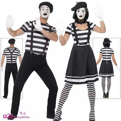 Adults Mime Artist Costume Couples Mens Womens French Circus Fancy Dress Outfit