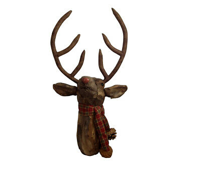 Woodland Tartan Stag Head Christmas Wall Decoration - Bark Detail Festive Dec